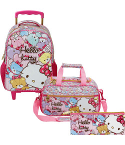Kit Escolar Mochilete 14 + Estojo + Sacola Hello Kitty Tiny Bears (7861+7866+7867)