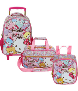 Kit Escolar Mochilete 14 + Lancheira + Sacola Hello Kitty Tiny Bears (7861+7864+7867)