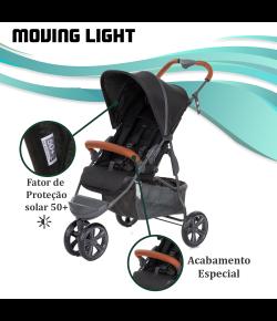 Carrinho de Bebê ABC Design Moving Light Woven Black (Detalhe em Couro)