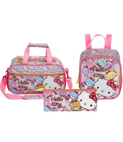 Kit Escolar Sacola + Lancheira + Estojo Hello Kitty Tiny Bears (7864+7866+7867)