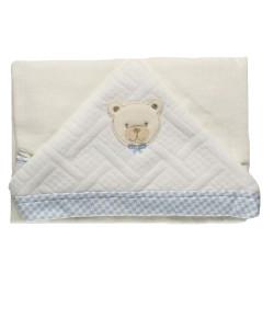 Toalha de Banho com Capuz Hug Baby Bear Off White e Azul