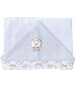 Toalha de Banho Hug Ovelhinha Algodão Doce Branco e Azul E7115