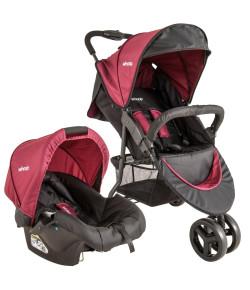 Carrinho de Bebê Travel System Lenox Whoop Trio + Cosycot Click Preto e Vinho