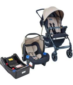 Carrinho de Bebê Travel System Burigotto Ecco Cappuccino + Base