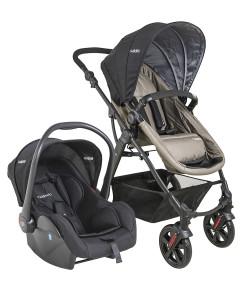 Carrinho de Bebê Travel System Lenox Kiddo Galaxy Preto e Cappuccino + Casulo Click (415+5230)