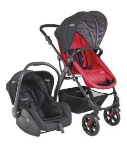 Carrinho de Bebê Travel System Lenox Kiddo Galaxy Preto e Vermelho + Casulo Click (415+5230)