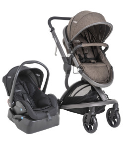 Carrinho de Bebê Travel System Quantum Kiddo Melange Marrom + Base